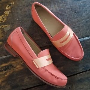 Cole Haan Orange Leather Penny Loafers unique